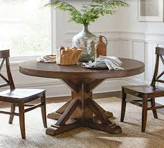 pottery barn style dining table:  benchwright fixed pedestal dining table o