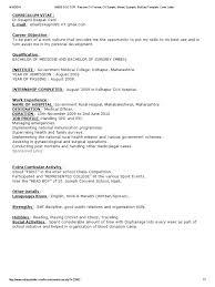 Medical Cv Template Medical Doctor Resume Format Resume