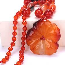 women necklace red crystal flower pendant hand carved crystal prom gift luna linkin warcraft sailor moon