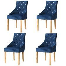 Esszimmerstühle 4 Stk Massive Eiche Und Samt Blau Stühle