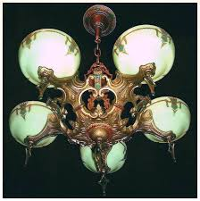 vintage art deco slip shade chandelier by gill glass