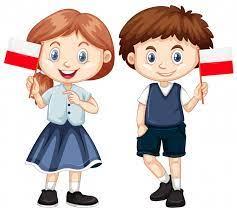 Chłopiec I Dziewczynka Z Flagą Polski   Darmowy Wektor
