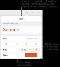text controls in the format for setting paragraph and character styles font size