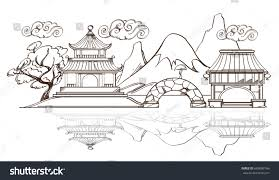 Japanese Landscape Temple Pagoda Mountains Outline Stock Vector ...