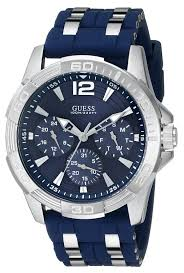 amazon com guess men s u0366g2 sporty silver tone stainless steel amazon com guess men s u0366g2 sporty silver tone stainless steel watch multi function dial and blue strap buckle guess watches