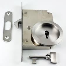 sliding door locks with key. Key Operated Hook Lock With Round Escutcheons \u0026 Folding For Sliding Pocket Doors - Satin Stainless Steel Door Locks 0