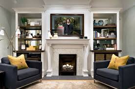 living room amazing modern living space design idea with two sided corner fireplace also built