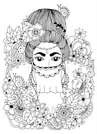 vector ilration zentangl oriental princess in flowers doodle drawing coloring book anti