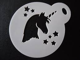 unique bespoke new laser cut unicorn head stars cookie face painting stencil