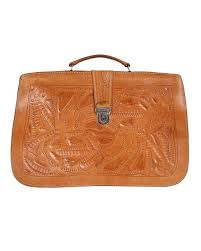 tooled leather doent briefcase image