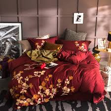 oriental embroidery 100 cotton bedding set king size queen bed set red purple white bedsheet