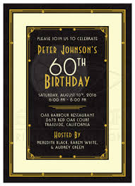 60 birthday invitations man s 60th birthday invitation black gold art deco