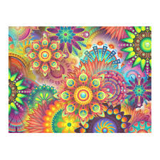 Trippy Pattern Classy Trippy Psychedelic Floral Pattern Red Blue Cotton Linen Tablecloth