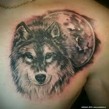 Tattoo Uploaded By вадим татуировка волк на груди с голубыми
