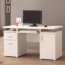 coaster contemporary computer workstation office desk table. White Cappuccino Floating Top Computer Desk W/ Drawers Cabinet Keyboard Tray Coaster Contemporary Workstation Office Table R