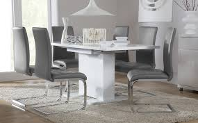 osaka white high gloss extending dining table and 6 chairs modern kitchen table set46 set