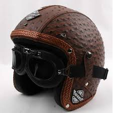 2016 new arrival brown genuine leather vintage motorcycle handcrafted harley motorbike retro open face scooter helmets