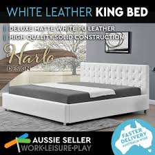 king bed frame gas lift storage faux leather pu upholstered base white harlo