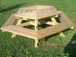 original round wooden picnic tables