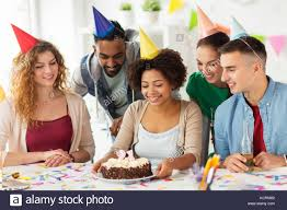 Office Birthday Team Greeting Colleague At Office Birthday Party Stock Photo