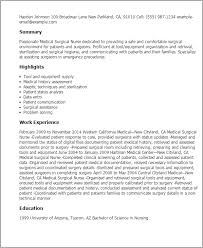 Resume Templates: Medical Surgical Nurse