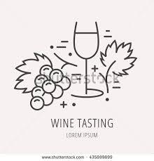 stock vector logo or label wine tasting line style logotype template with wine tasting elements easy to use 435899899 icon emblem banco de im�genes fotos y vectores libres de derechos on vertical labels template