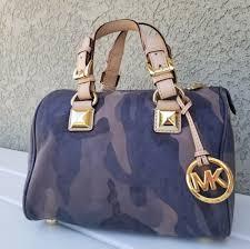 details about rare michael kors blue camo calf leather small grayson satchel purse handbag bag