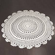 uooom 2 pcs handmade crochet hollow tablecloth round cotton lace table placemats with flower pattern 9 8 inch diameter 25cm white