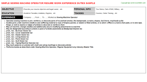 Sewing Machine Operator Resume | Resumes Templates ...