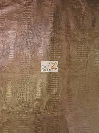 alligator embossed vinyl faux leather pleather fabric bronze sold by the yard