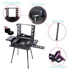Makeup Case With Lights And Mirror Uk Uk Makeup Artist Studio Rolling Makeup Case Light W Light Mirror
