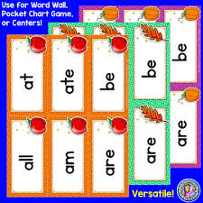 Kindergarten Fall Dolch Sight Word Cards Pocket Chart Game