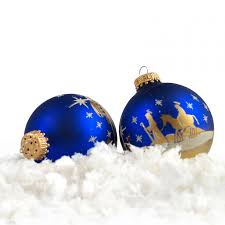 Christbaumkugel Lauscha Kugel Glas Blau Heilige Nacht Bethlehem