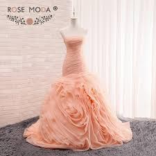 peach wedding dress. Rose Moda Blush Peach Trumpet Wedding Dress 3D Swirled Organza