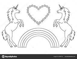 Unicorni Coppia Con Rainbow Cuore Con Stelle Pagina Colorare Bambini