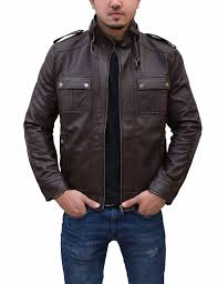 mens slim fitted leather jacket