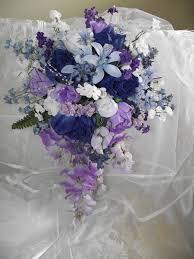 Cascade Dark Blue And Purple Wedding Bouquet By Cherylsbouquets