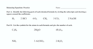 balancing equations practice answer key worksheet chemfiesta