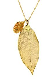 image of saachi 18k gold dipped leaf acorn charm necklace