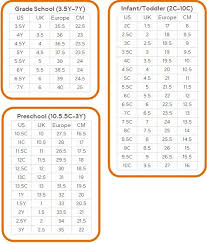 Youth Shoe Size Chart Sizing Chart Us Uk Europe