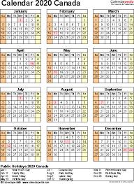 Canada Calendar 2020 Free Printable Excel Templates