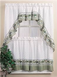 Kitchen Curtains With Grapes Cottage Ivy Window Curtains Country Kitchen Decor Swag 36 Tiers