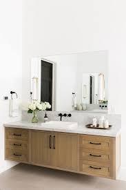 natural wood floating vanity