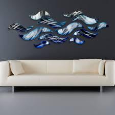 image is loading 034 rip tide 034 blue metal wall art  on teal blue metal wall art with rip tide blue metal wall art sculpture modern abstract ocean wave