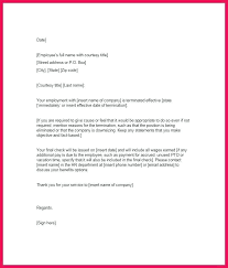 Letter Of Termination Of Employment Sample Editable Employee ...