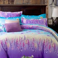 aqua and purple ombre colored forest scene full queen size bedding sets