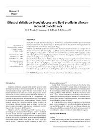 research paper effect of shilajit on blood glucose and lipid research paper effect of shilajit on blood glucose and lipid profile in alloxaninduced diabetic rats pdf available