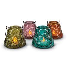 5 5 inch tall glass flameless votive candle holders with handles in assorted colors