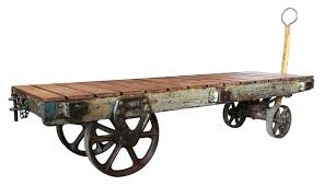 antique trolley cart coffee table awesome drum regarding industrial