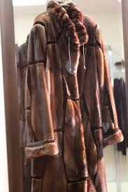 mahogany fem mink coat sheared mink inserts
